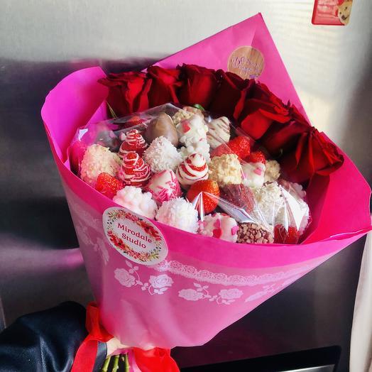 Клубничная ️: букеты цветов на заказ Flowwow