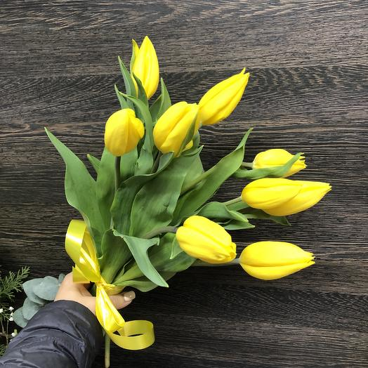 9 yellow Tulips: flowers to order Flowwow