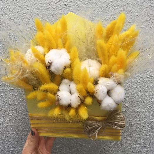 Конверт с сухоцветами: букеты цветов на заказ Flowwow