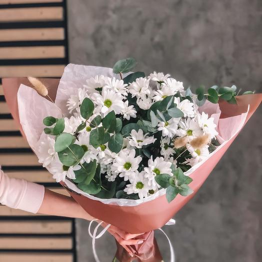 Букет из белой кустовой хризантемы: букеты цветов на заказ Flowwow