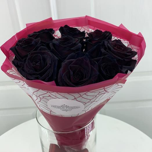 Черные розы 9шт