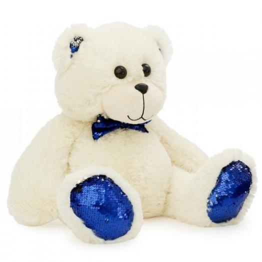 Медвежонок с синими пайетками