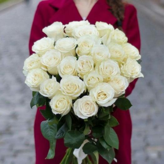 Букет из 25 роз белых 60 см Эквадор