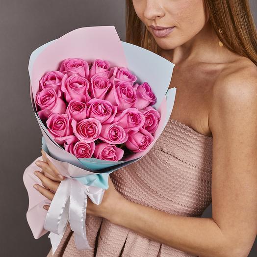 21 розовая роза премиум (ваза в подарок, необходимо написать в комментариях к заказу)