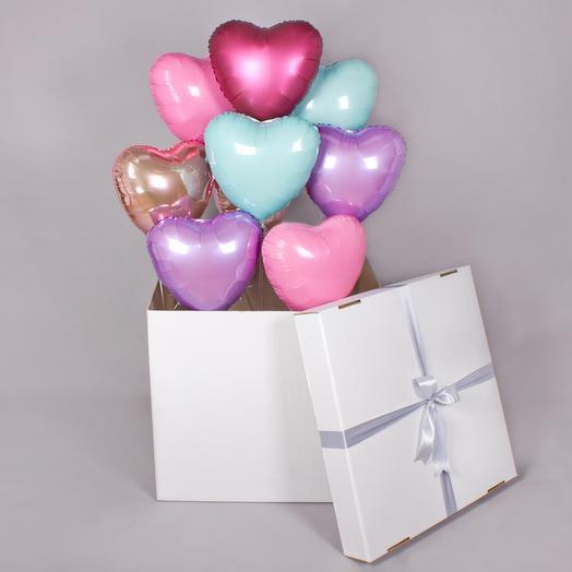 Коробка сюрприз с фонтаном из сердец