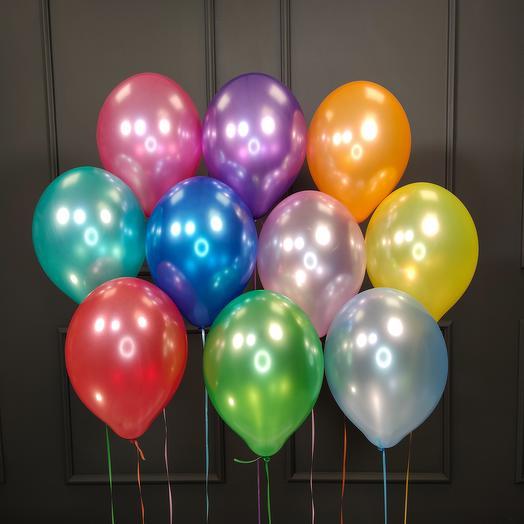 Воздушные разноцветные шарики металлик 25 шт