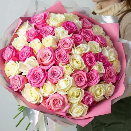 101 роза нежный микс в стильной упаковке