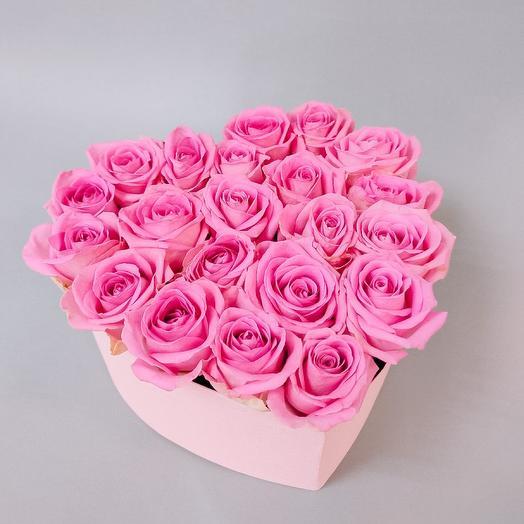 Розы в коробке - сердце