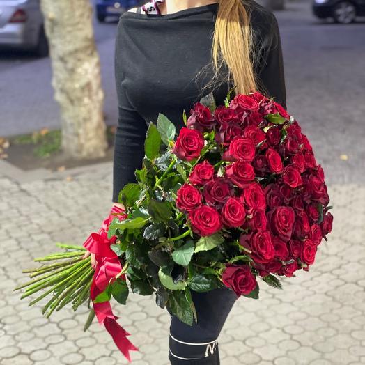 51 красная роза 90см