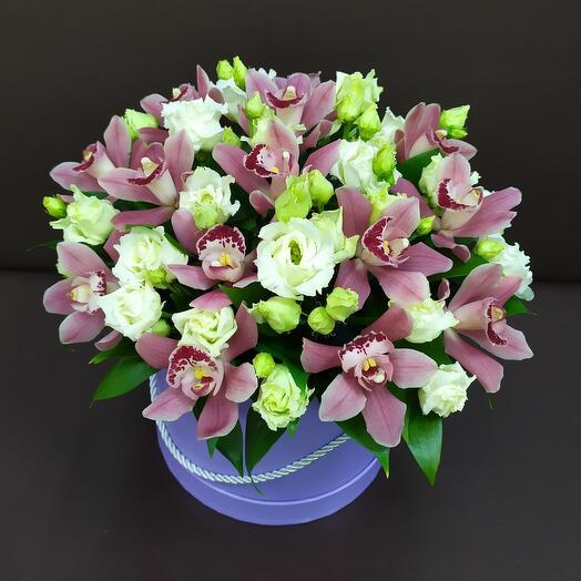 Шляпная коробка с орхидеей и эустомой