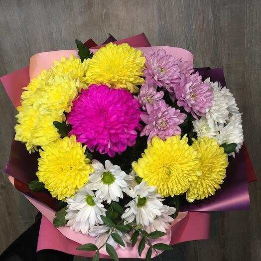 Bouquet of chrysanthemums lush
