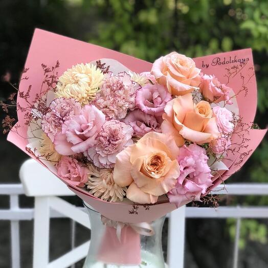 Букет персиково-розовый шейк