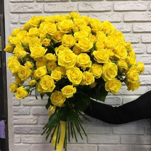 Букет из 35 желтых кустовых роз 50 см: букеты цветов на заказ Flowwow