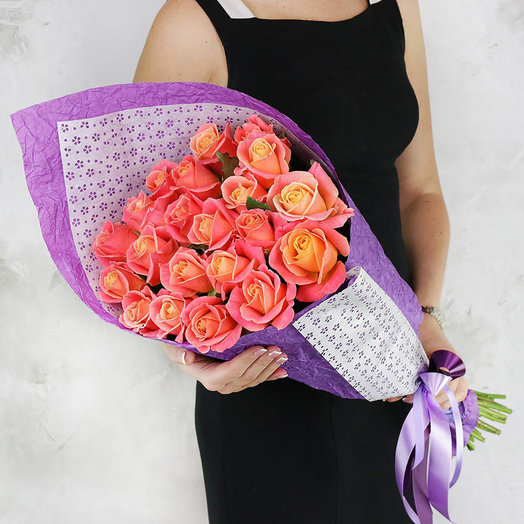 Букет из 21 персиковой розы: букеты цветов на заказ Flowwow