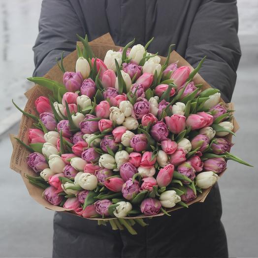 101 тюльпан микс: букеты цветов на заказ Flowwow