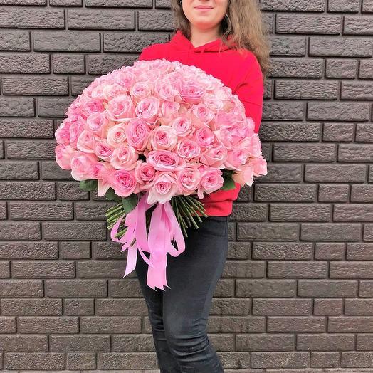 Букет из 101 пионовидной розы: букеты цветов на заказ Flowwow