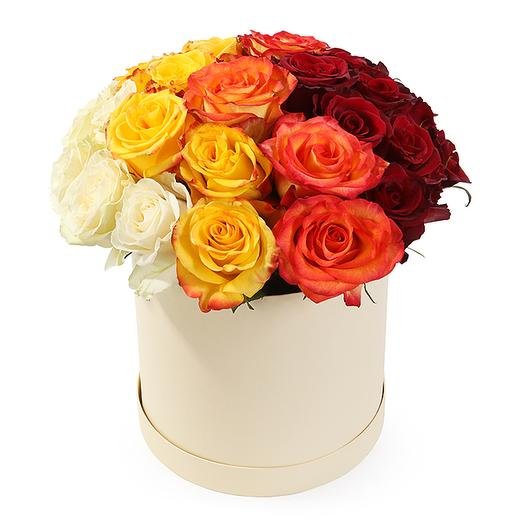 25 Роз Ассорти в шляпной коробке: букеты цветов на заказ Flowwow
