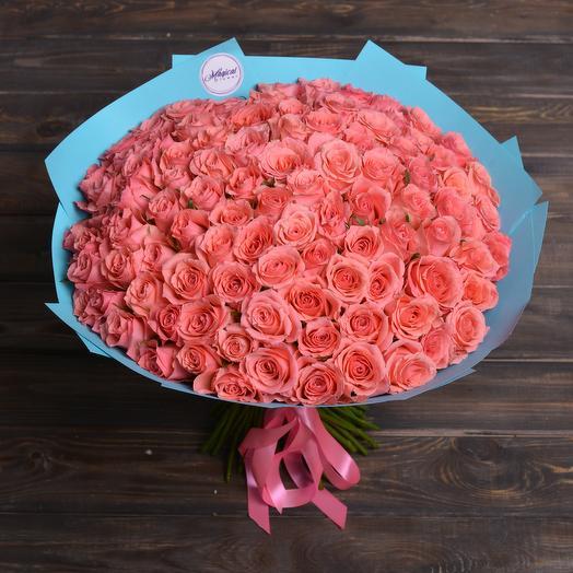 Букет Из 101 Лососевой Розы: букеты цветов на заказ Flowwow