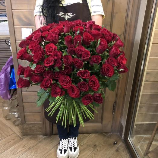 """Большой букет из роз """"101 красная розочка"""""""
