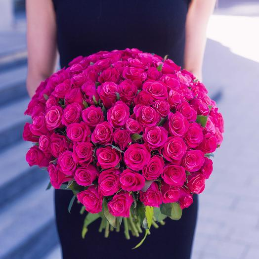 """Букет """"101 Малиновая Роза"""": букеты цветов на заказ Flowwow"""
