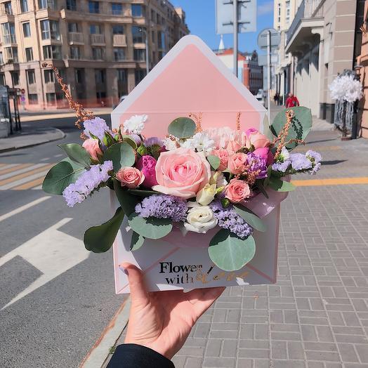 Конверт любви: букеты цветов на заказ Flowwow