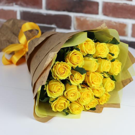 Розы. Букет из 19 желтых роз. N656