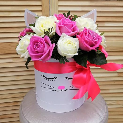 Розы в коробочке «Кошечка»