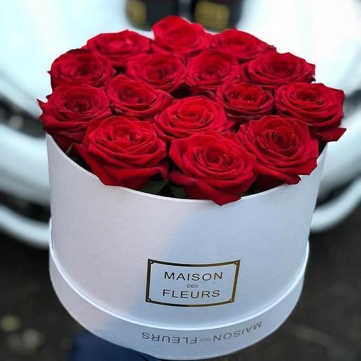 Коробка из 15 роз: букеты цветов на заказ Flowwow
