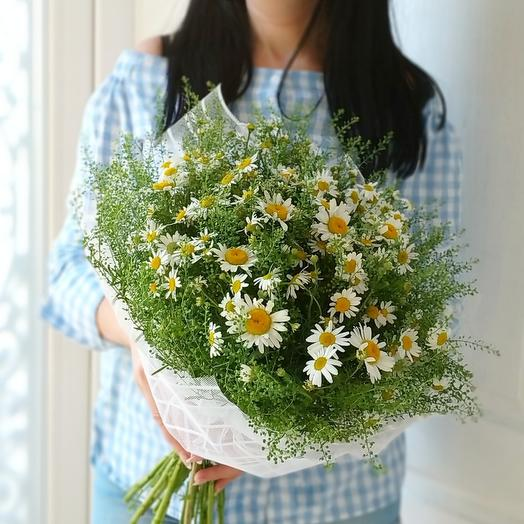 """Ромашковое поле - Букет ромашек с зеленью тлапси """"Green Bell"""": букеты цветов на заказ Flowwow"""