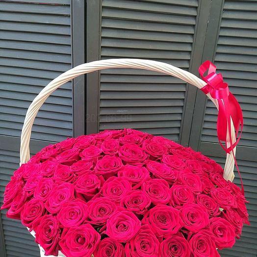 101 голландская роза в корзине