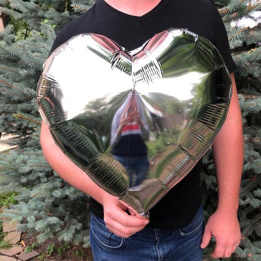 Rosalina - фольгированный шар с гелием  сердце металлик