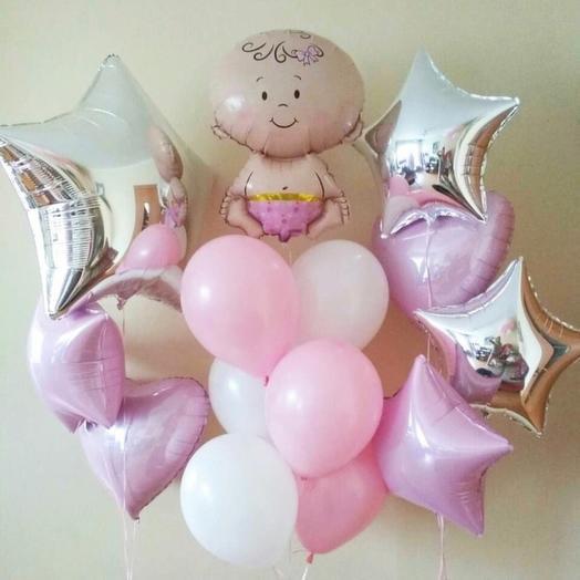 Композиция из шаров с фольгированной малышкой