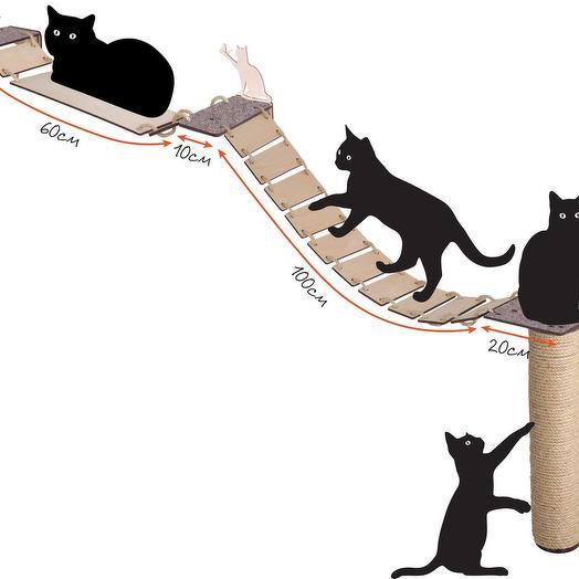 Настенный игровой комплекс для кошек Хвостович 111, сизаль, цвет бежевый