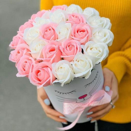 Коробочка с мордочкой  и  мыльными розами