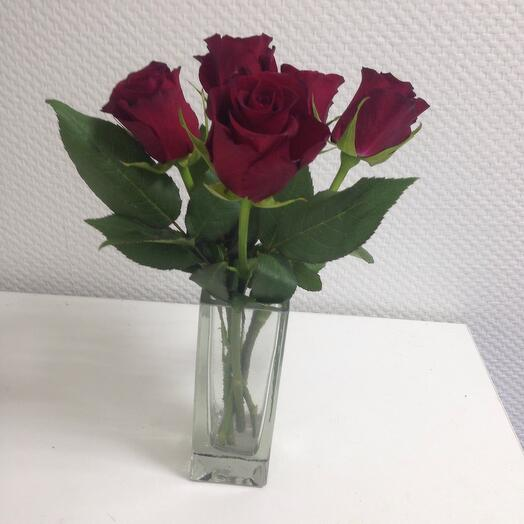 5 красных роз в вазе