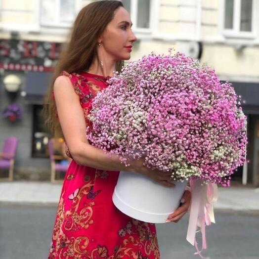 Цветы в коробке «Малиновый щербет»