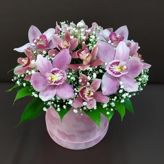 Бархатная шляпная коробка с орхидеей