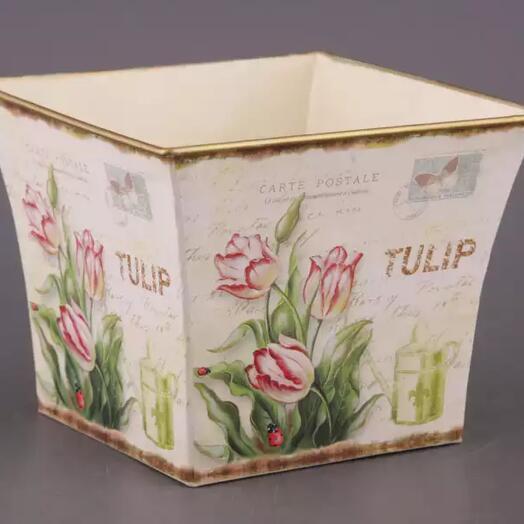 Кашпо большое Тюльпаны 19х19х15 см