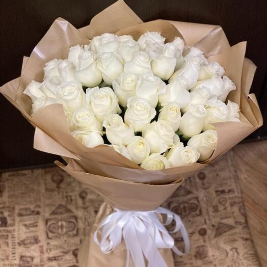 51 белая роза Премиум