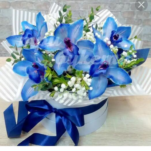 Синие орхидеи в шляпной коробке