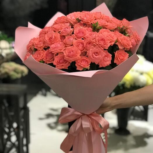 Bouquet of coral rose bushes