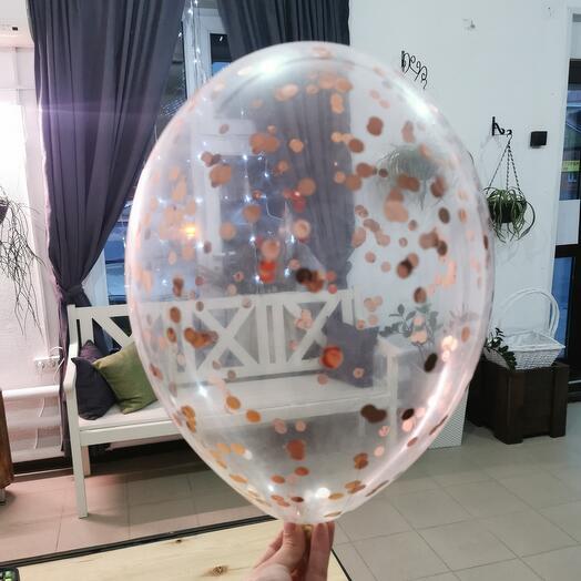 Прозрачный шар, конфетти, гелиевый