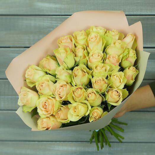 31 зелено-розовая роза в упаковке (40 см)