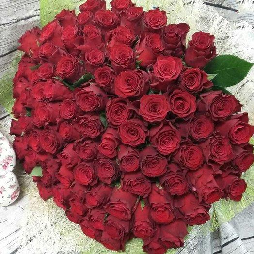 Шик 101 роза Эквадор: букеты цветов на заказ Flowwow