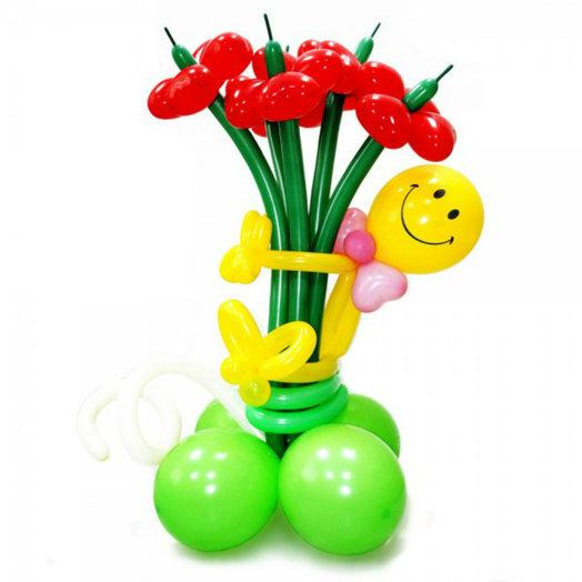 Букет красных ромашек со смешным человечком : букеты цветов на заказ Flowwow