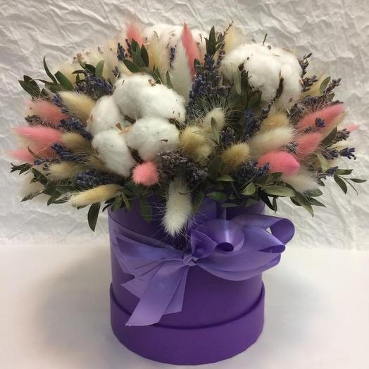 Коробочка с лавандой и сухоцветами