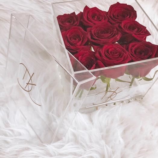 Кристальная коробка: букеты цветов на заказ Flowwow