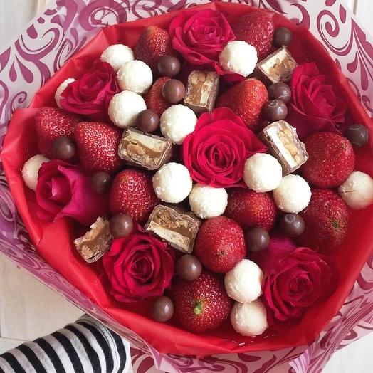Клубничный букет «имбирь»: букеты цветов на заказ Flowwow