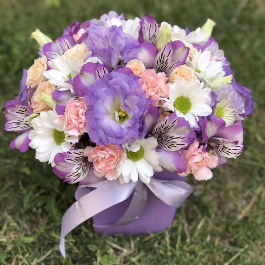 Композиция в коробке трапеции «True lavender»