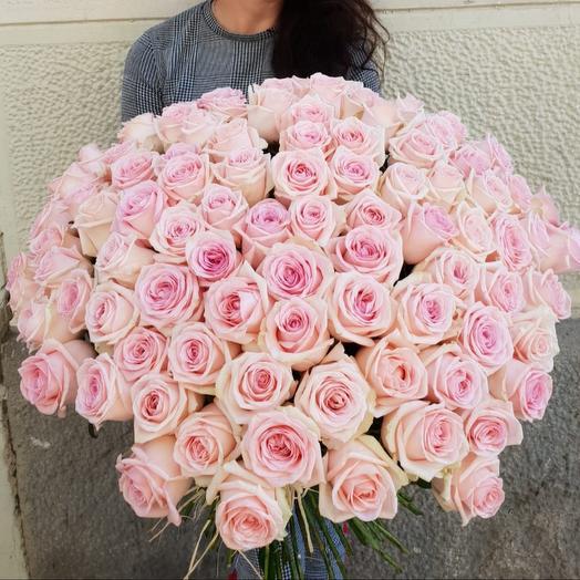 101 большая розовая роза 70см